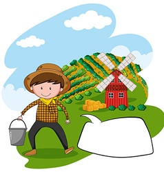 Farmer working in the farmland vector