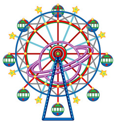 ferris wheel with yellow stars vector image