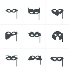 Festive masks silhouette in black on a white backg vector