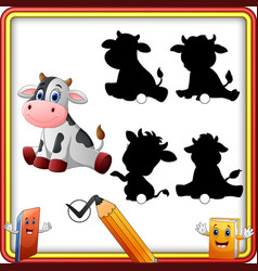 Find the correct shadow cute baby cow sitting ed vector
