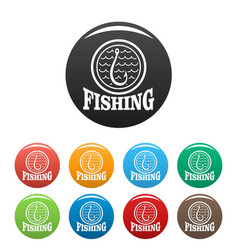 fishing hook icons set color vector image