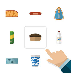 Flat icon meal set of kielbasa spaghetti canned vector
