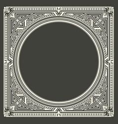 floral and geometric monogram frame on dark gray vector image
