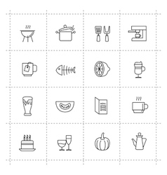 Food icons set on wite background vector