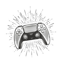 game controller video gamepad sketch vector image