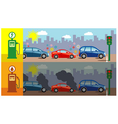 Gas vs electric cars vector