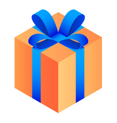 gift orange box icon isometric style vector image