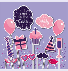 Gifts with muffin decoration to happy birthday vector