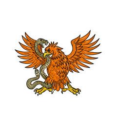 Golden eagle grappling rattlesnake drawing vector