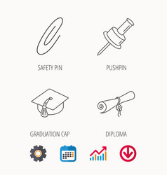 Graduation cap pushpin and diploma icons vector