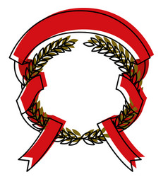 Green olive branches and red ribbon interlace vector