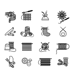 Hand drawn knitting embroidering and sewing icons vector
