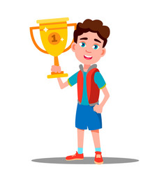 Happy child with sport cup in hand vector