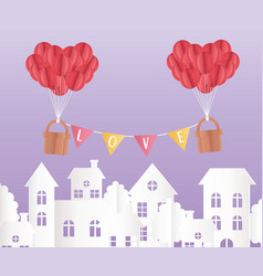 Happy valentines day origami paper balloons vector
