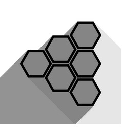 Honeycomb sign black icon with two flat vector