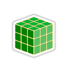 In paper sticker style cube vector