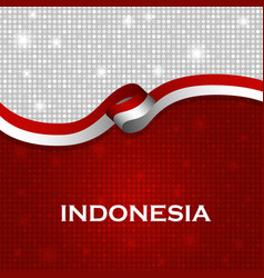 Indonesia flag ribbon shiny particle style vector