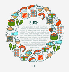 Japanese food concept in circle vector