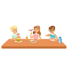 kids eating brekfast and lunch food and drinking vector image