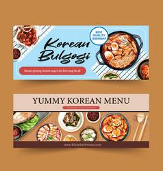 Korean food banner design with ramen ttoekbokki vector