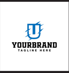 letter u logo design with blue paws vector image