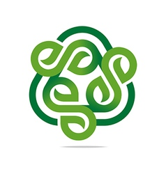 Logo Design Go Green Garden Plants Circle Icon vector image
