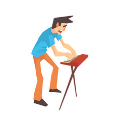 Male pianist of rock band playing keyboard cartoon vector