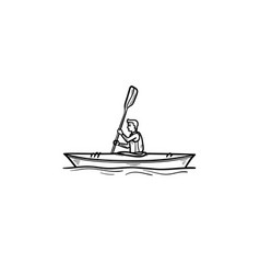 man in canoe hand drawn outline doodle icon vector image