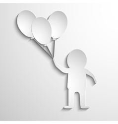 man with balloons in hands White paper vector image