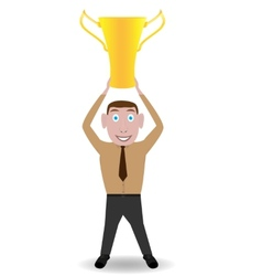 Man with golden cup vector image