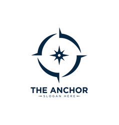 Marine retro emblems logo with sailor compass vector