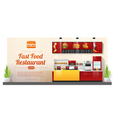 modern fast food restaurant counter background vector image