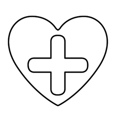 Monochrome contour with symbol cross in heart vector