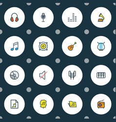 multimedia icons colored line set with off guitar vector image