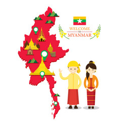 Myanmar map and landmarks with people in vector
