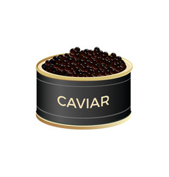 Open can with black caviar vector