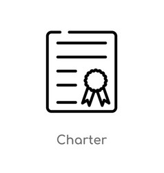 Outline charter icon isolated black simple line vector