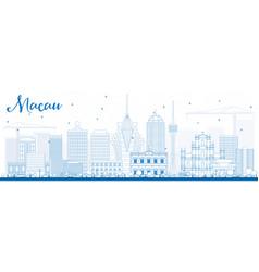 Outline macau skyline with blue buildings vector