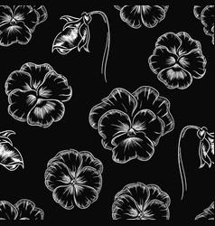 pansy flowers botanical chalk seamless pattern vector image