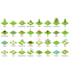 Park nature elements icons set isometric style vector