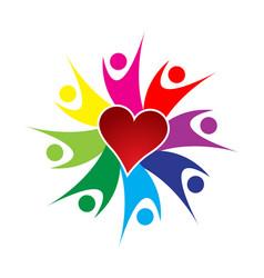 People teamwork and loving heart logo vector