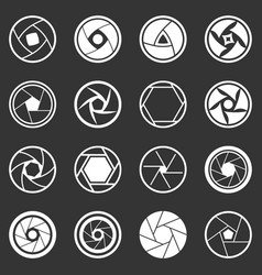 Photo diaphragm icons set grey vector