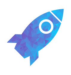 polygon blue icon rocket vector image