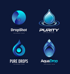 pure blue drop logo collection vector image