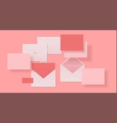 realistic envelopes paper or cardboard 3d mockup vector image