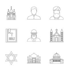 Religious faith icons set outline style vector