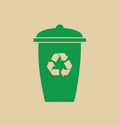 Rubbish bin with recycle symbol green arrows logo vector
