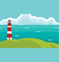 Seascape with lighthouse on the hill and ships vector