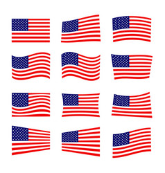 Set america flag vector