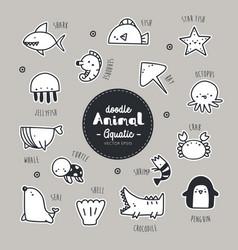 Set aquatic animal icon vector